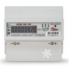 Счетчик электроэнергии НЕВА 306 1S0 5(60) трехфазный однотарифный, кл.точ. 1.0, D, ЖКИ