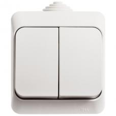 ЭТЮД Выключатель двухклавишный наружный IP44 белый