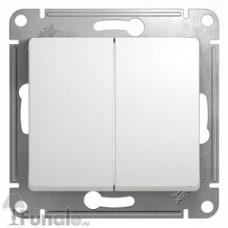 GLOSSA Выключатель двухклавишный в рамку белый